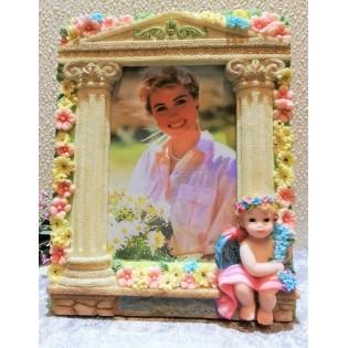Foto kader bloemen en kind...